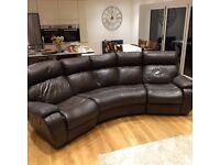 Leather curved corner reclining sofa and matching two seat reclining sofa in excellent condition