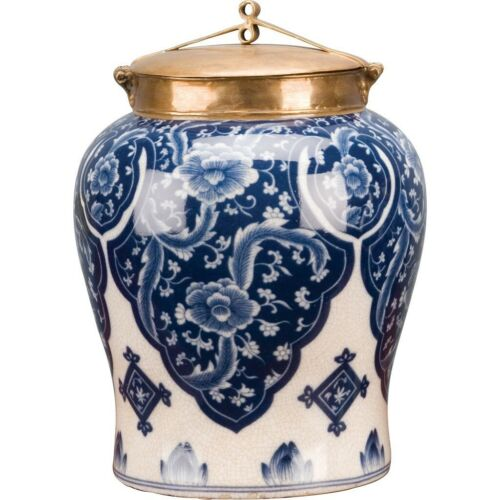 """PORCELAIN BLUE AND WHITE QIPAO WARRIOR JAR LARGE WITH BRONZE ORMOLU LID 12"""""""