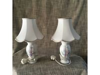 2 White Bedside Table Lamps with Floral Pattern