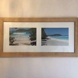 Large framed beach photographs