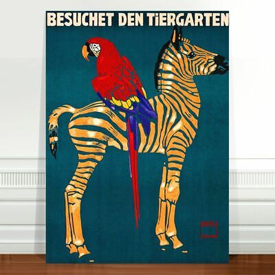 "Vintage Zoo Advertising Poster Art ~ CANVAS PRINT 36x24"" Zebra macaw Teal"