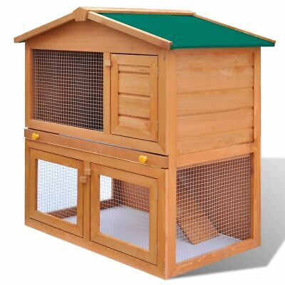 vidaXL Wooden Rabbit Hutch 3 Doors Bunny Cage Animal House Hen Poultry Cage for sale  Rancho Cucamonga