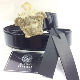 Diamond gold medusa 3D crystal Cubic men's shiny black leather belt Versace boxed VERY RARE