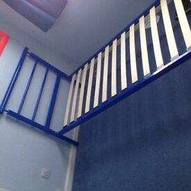 Single bed frame - blue, metal, full size (children)