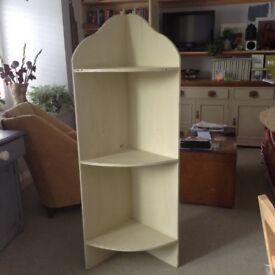 Vintage solid wood, painted, distressed style corner shelves. Floor standing.