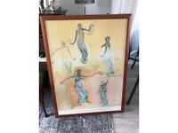 Large framed poster dancing figures