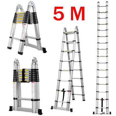 5M Teleskopleiter Aluleiter Mehrzweckleiter, Anlegeleiter Stehleiter Klapleeiter