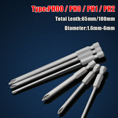 """Philips Magnetic Screwdriver Drill Bits PH00-PH2 65-100mm Power 1/4"""" Hex Shank"""