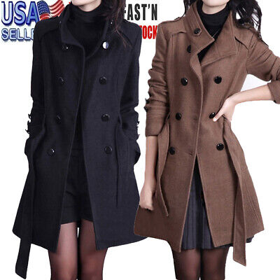 Womens Winter Warm Thicker Long Jacket Hooded Parka Button Coat Outwear Belt -
