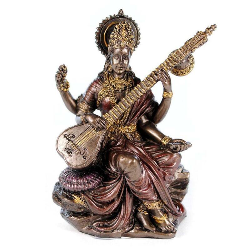 "SMALL SARASWATI STATUE 3"" Hindu Goddess of Knowledge Deity Icon Miniature Resin"