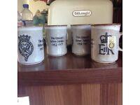 Four Dunoon stoneware mugs