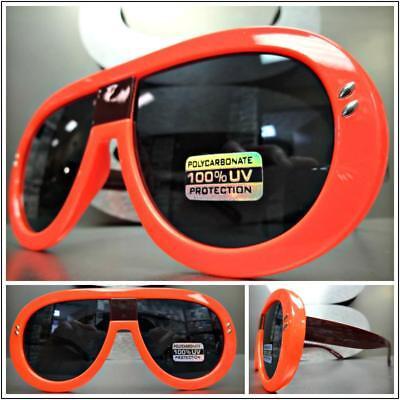 tage Retro Designer Stil Sonnenbrille Neon Orange Rahmen (Neon Orange Sonnenbrille)