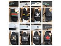 Designer Sliders: Gucci Lv fendi Versace Chanel dsquared givenchy Leather Shoes trainers