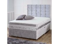 💛💛EXCELLENT QUALITY💛💛 DOUBLE CRUSHED VELVET DIVAN BED BASE WITH DEEP QUILTED MATTRESS