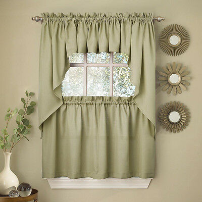 Sage Solid Opaque Ribcord Kitchen Curtains - Choice of Tiers Valance or Swag ()
