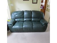 4 piece leather suite. 3 Seater Sofa, 2 Seater Sofa, Armchair, Storage Stool.