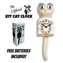 WHITE LADY KIT CAT CLOCK 15.5 Free Battery MADE IN USA Official Kit-Cat Klock