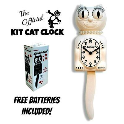 """WHITE LADY KIT CAT CLOCK 15.5"""" Free Battery MADE IN USA Official Kit-Cat Klock"""
