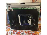 Portable Photo Studio (small) in Box. With 2 lights, adjustable camera stand & storage case