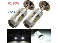 2X Canbus 80W H1 16SMD 6000K XB-D LED DRL Headlight Driving Fog Lamp Bulbs