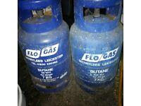 two 7kg empty Butane gas bottles