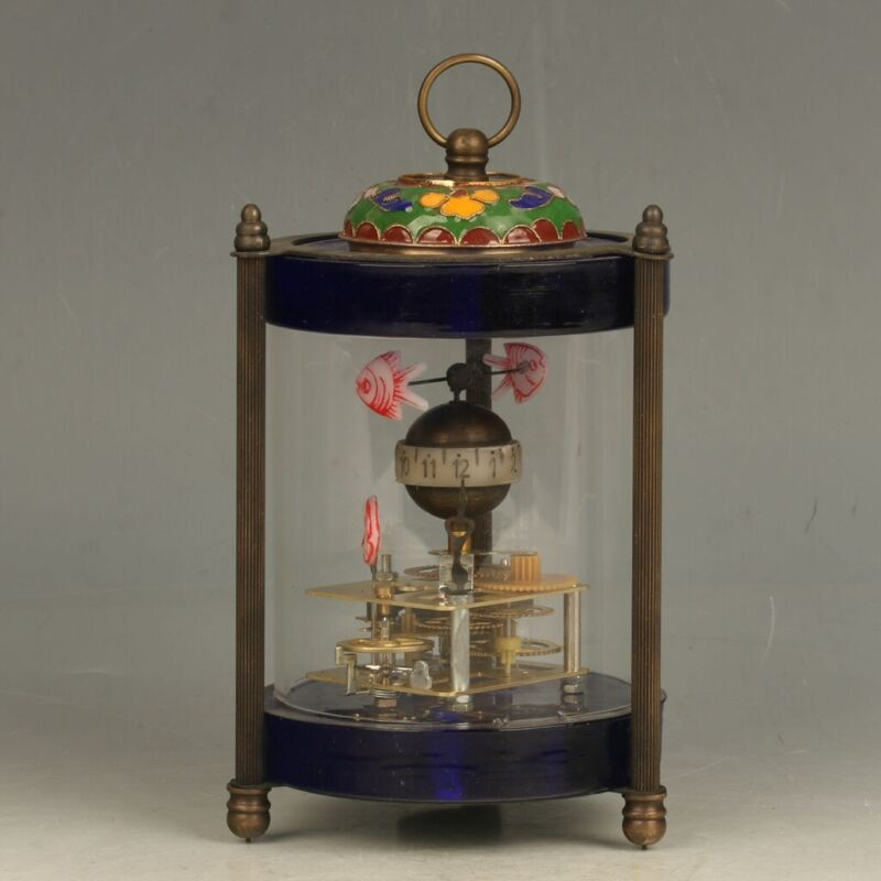 Mechanical Clock Cloisonnee Horologe Glass around Three fishes FL025