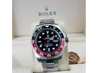 Silver Rolex GMT Master Cola Red/Black Bezel Comes Rolex Boxed with Paperwork