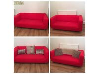 2 x red sofas for sale