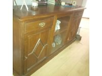 Oak Sideboard with shelves and glass display section