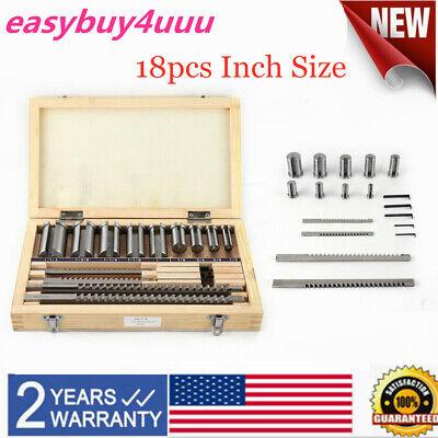 18pcs Keyway Broach Kit Inch Size Hss Broaching Cutter Bushing Shim Set New