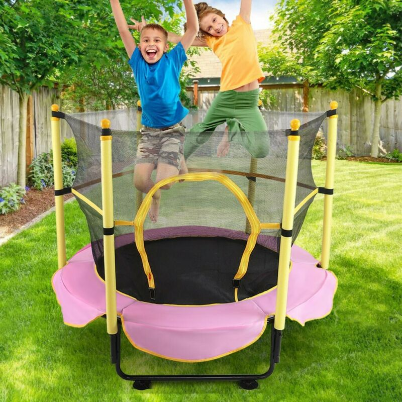 """60"""" Kids Mini Jumping Round Trampoline Exercise W/ Safety Pa"""
