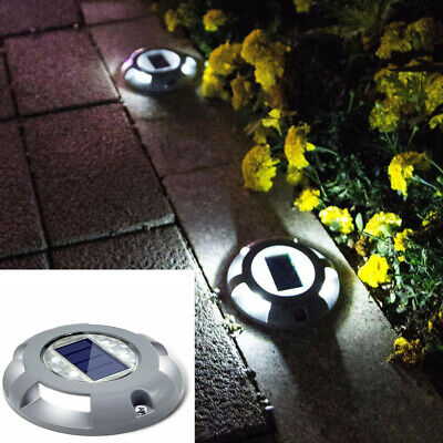 Upgraded Solar Powered LED Deck Lights Outdoor Garden Path In Ground Disk Lights Earth Garden Path