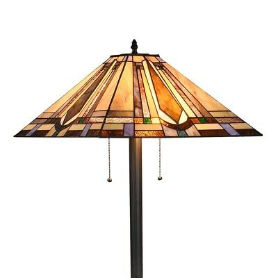 Tiffany Mission Reading Floor Lamp Vintage Handmade Stained Glass Shade  ()
