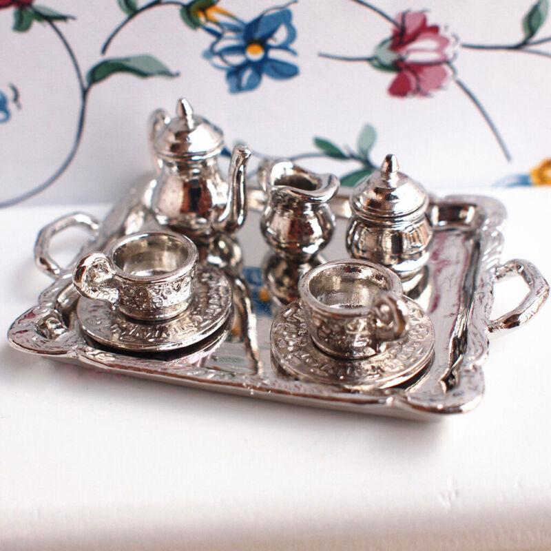 10Pcs Metal 1:12 Dollhouse Tea Lid Pot Cup Tray Set Vintage Miniature Silver