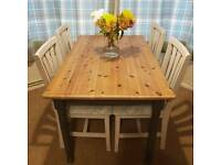 Newly refurbished dining table and six chairs