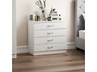White Chest of Drawers, 4 Drawer With Metal Handles & Runners