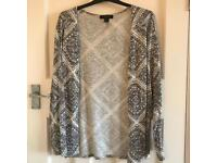 Grey and White Patterned Cardigan