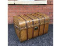 Antique Steamer Trunk Vintage Travel Chest Boarding School Trunk Shop Display