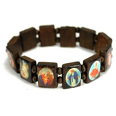 SAINT BEAD BRACELET Brown Wood Stretch Elasitc Religious Icon Jesus Angel Mary