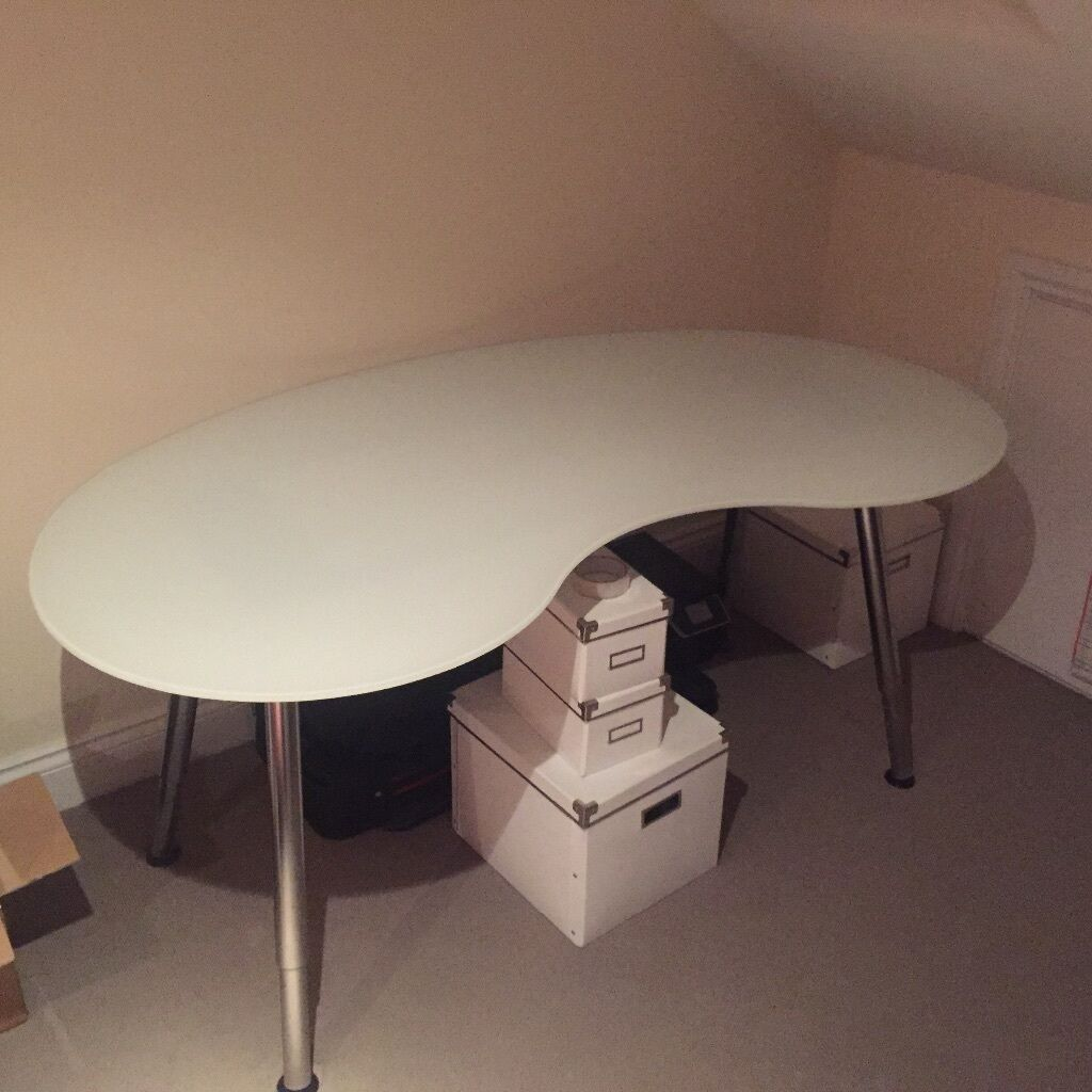 Ikea Desk White Curved Glass Top In Canada Water