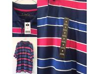 Men's Brand New Navy Pink & White Polo shirt T-Shirt Size 3XL With Tags