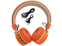 Foldable Wireless Bluetooth Handsfree Headphones + Mic For iPhone iPad Android orange colour