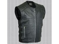 MENS LEATHER VEST BIKER STYLE WAISTCOAT BLACK GENUINE 100% REAL COWHIDE LEATHER