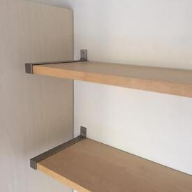 PINE SHELVES PAIR WITH BRACKETS