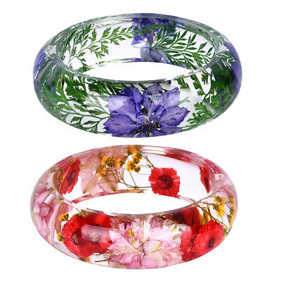 2Pcs Women Clear Lucite Bangle Daisy Dried Flower Pressed Incased Bracelet for sale  China