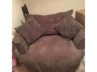 Grey/brown Cuddler/Swivel chair £100 ono