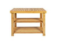2 Tier Natural Bamboo Shoe Rack Bench + Handmade cushion