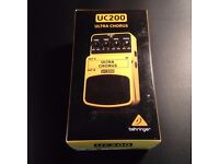 Behringer UC200 Ultra Chorus Effects Pedal, Power Supply & 5 Way Daisy Chain & Patch leads all New