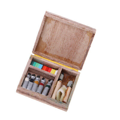 Miniature 1/12 Scale Dollhouse Wooden Paint or Watercolors Box Set Supplies for sale  China
