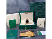 Rossco's Watches. Rolex Datejust Gold Jubilee Black Face. Numerals. New and Boxed with Paperwork